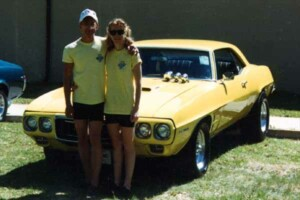 My wife and I at Chowchilla Fairgrounds with my 69 Firebird 400.